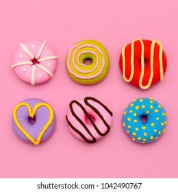 Donut Set.  Sweet Candy Minimal Flatlay art.
