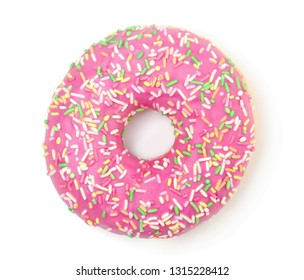 Donut with sprinkles isolated on white background top view