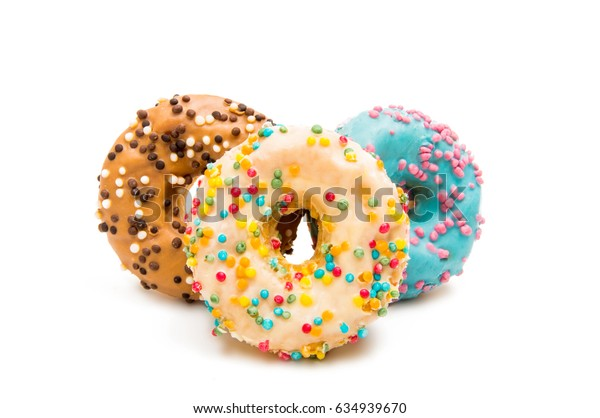 Donuts in glaze on a white background