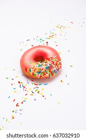 Donuts with icing on white background. Sweet donuts.