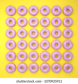 Donuts on Vibrant colorful Background with shadows: Yellow and Pink
