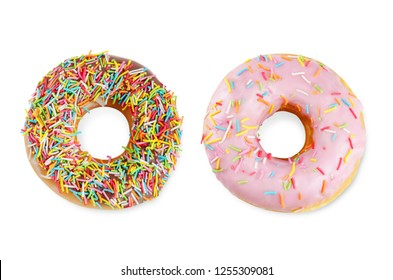 Donuts on a white background. toning. selective focus