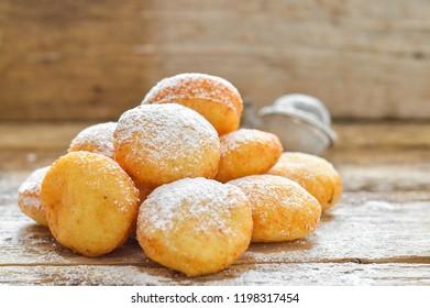 Donuts in powdered sugar