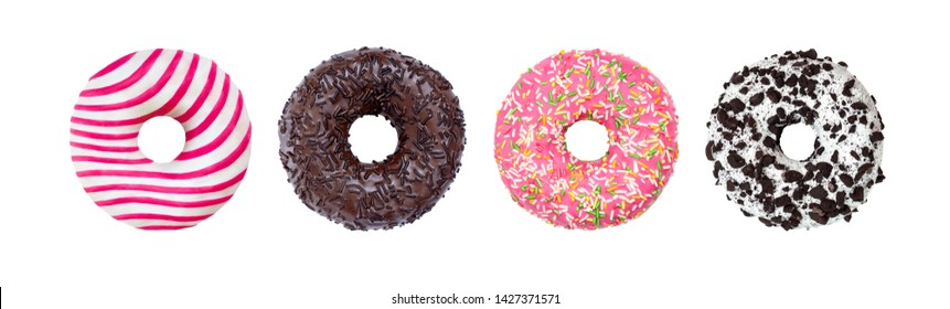 Donuts Set Isolated on White. Different type of donuts: with chocolate, pink with stripes, with glaze and colored splashes and sprinkled black cookie