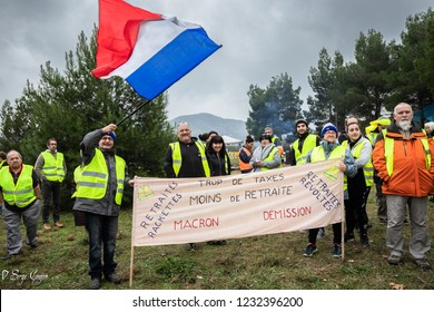 Donzere Drôme France 11 17 2018 demonstration of yellow vests against a new increase in taxes imposed by the French government