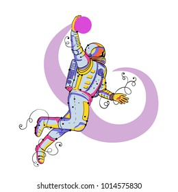Doodle art illustration of an astronaut, cosmonaut or spaceman jumping and dunking basketball on isolated background.