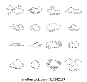 Doodle big set of Hand Drawn Clouds. Illustrations isolate on white background.