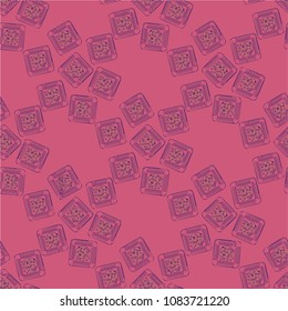 Doodle bisquit cookie or cracker background. Cookie seamless pattern