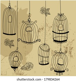 Doodle cages with birds