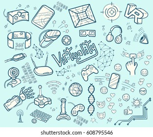 Doodle  collection of virtual reality and innovative technologies. Hand drawn objects: computer, internet, gamepad, smartphone, joystick, vr-device, 3d-glasses, emoji Cute style