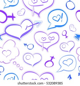 Doodle cute cartoon seamless pattern, funny hearts, cupid arrow, crazy characters, men and woman symbols, contour isolated on white background