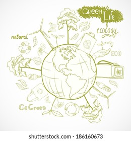 Doodle ecology and energy concept with tree leaf flower around the globe decorative elements  illustration