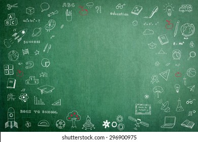 Doodle freehand chalk drawing on green chalkboard with circular blank copy space for adding texts