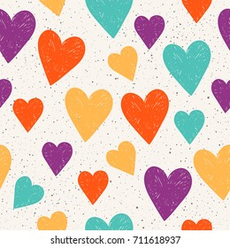 Doodle heart seamless pattern background. Abstract childish purple, green, yellow, orange heart for design t shirt, wedding card, bridal  invitation, valentine's day poster, scrapbook etc. Raster copy