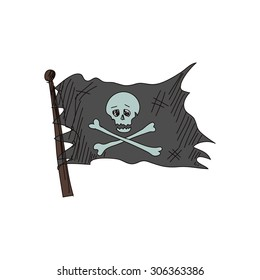 doodle Jolly Roger, isolated in white background,