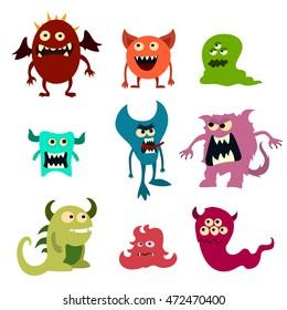 Doodle monsters set. Colorful toy cute alien monster. Graphic illustration