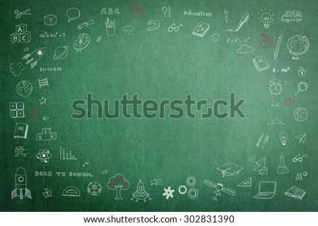 doodle on green school chalkboard blank stock photo edit now