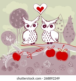 doodle owl couple in love sitting on an apple tree