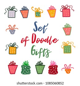 Doodle set of presents, ribbons, stars.  isolated on white for celebration design. All gifts are grouped.