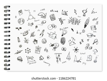 Doodle set of school reated items, school equipment and learning tools on white notebook with spiral bound notebook for background.