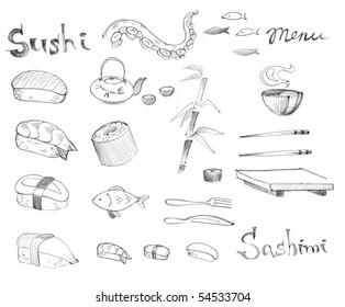 Doodle set - traditional Japanese sushi