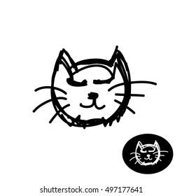 Doodle style draft hand drawn cat head symbol. Cat simple black child sketch.
