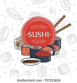 Doodle sushi restaurant and delivery design template. Asian food composition. Raster illustration