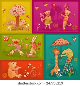 doodle young fox, cat, monkey, rabbit, bear, giraffe and rhinoceros playing and having fun
