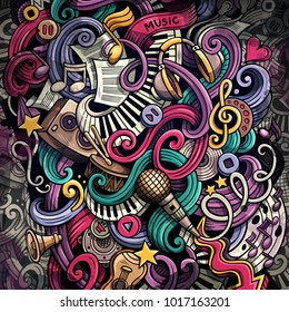 Doodles Musical illustration. Creative music background. Colorful stylish raster wallpaper.