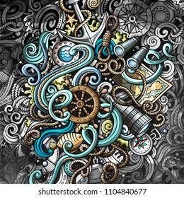 Doodles nautical illustration. Creative marine background. Grunge stylish card design