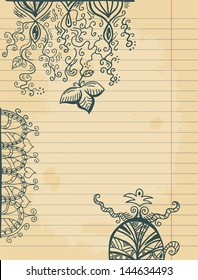 Doodles on paper sheet, raster illustration