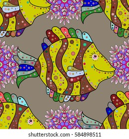 Doodles yellow fishes. Pink, red. Raster. Seamless background. Yellow, lilac.
