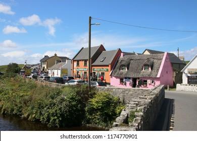 Doolin - Ireland - August 8, 2018: Traditional old Irish shops in the small village Doolin, Ireland