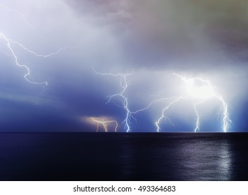 Doomsday. Perfect storm at sea. Cyprus