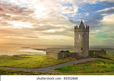 Doonagore Castle in the beautiful scenery, Ireland.