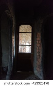 A door in an abandoned building