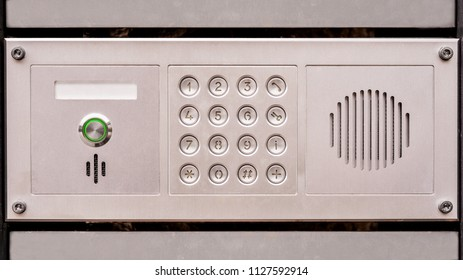 door acces panel with keyboard and speaker