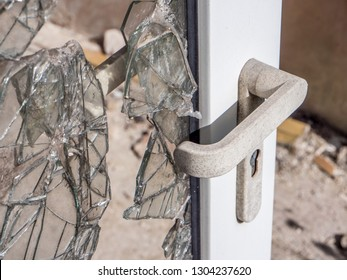 Door after a burglary