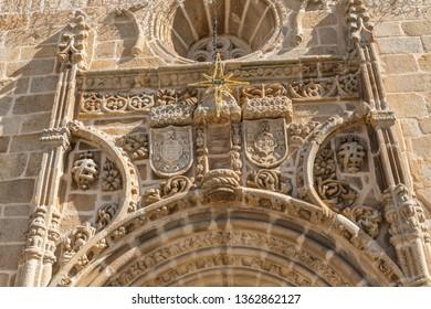 Door arch details on the Parish church in the main square of the town of Vila Nova de Foz Coa, Portugal