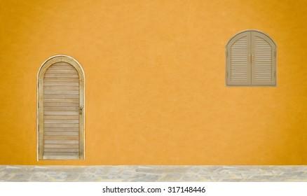 Door and blank old wall