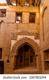 Door to the building in Al Qasr, old village in Dakhla Desert, Egypt