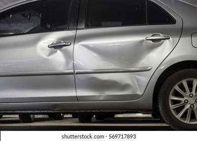 Door car with damage on accident with dent on left side
