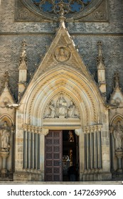 Door of Church of Saint Ludmila at Namesti miru or Peace Square