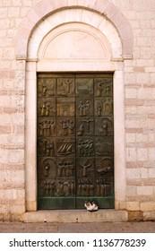 The door of the Church of Saint Mary Kotor Montenegro