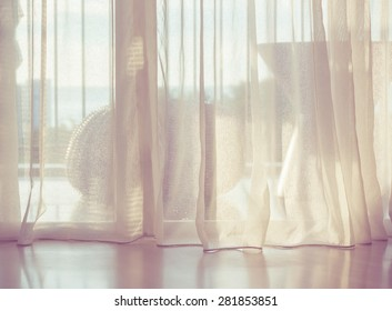 Door curtain with sunlight in the morning.