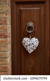 Door decoration with heart decoration