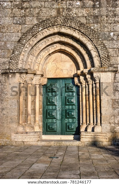 Door detail of Romanesque church of Fonte Arcada in Portugal