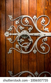 Door details of church in Trondheim, Norway, Scandinavia, Europe.  Old architecture. Faith and religion.