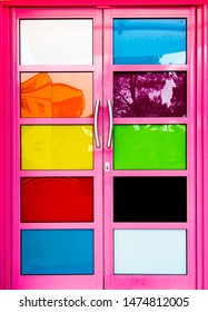 Door with Different Colour in Front abstract background
