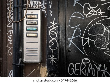 Door entry-phone with graffiti